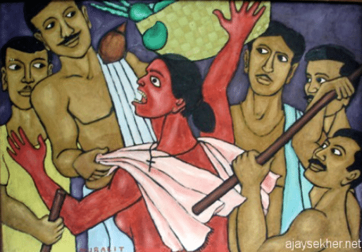 Painting that criticizes the Mulakaram tax