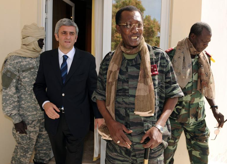 Idriss Déby Itno with French Defense Minister Hervé Morin in N'Djamena, Chad - February 6, 2008